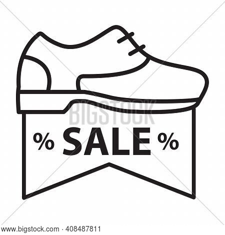 Casual Shoe Discount Icon. Autumn Street Shoes.outline Sale Shoes Sign.