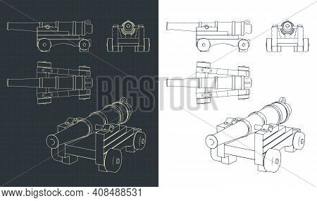 Vintage Naval Cannon Drawings