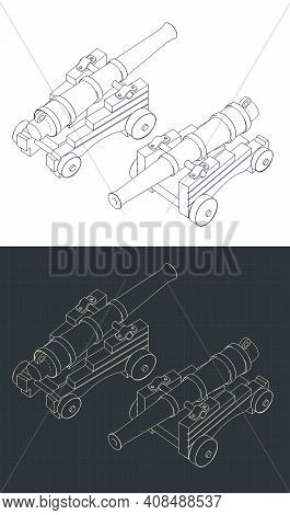 Vintage Naval Cannon Isometric Drawings