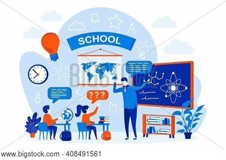 School Learning Web Design Concept With People. Pupils And Teacher In Classroom Scene. Elementary Sc
