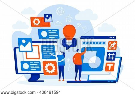 Designers Team Web Concept With People. Designers Work Wits Laptops Scene. Website Development, Ui U