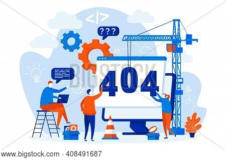 404 Page Error Concept With People Characters. Site Under Construction, Internet Disconnect Scene. P