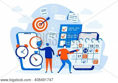 Mobile Organizer Web Design With People Characters. People Use Mobile Organizer App Scene. Work Task