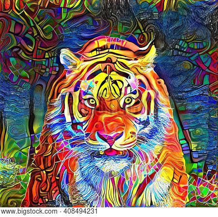 An Artistically Designed And Digitally Painted, Portrait Of A Tiger.