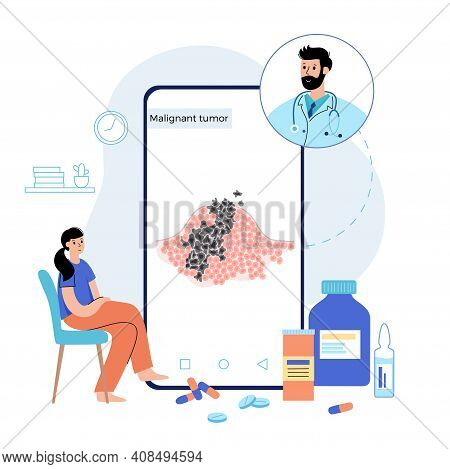 Vector Isolated Illustration Of Malignant Tumor In Healthy Tissue. Doctor Consults Woman In Online W