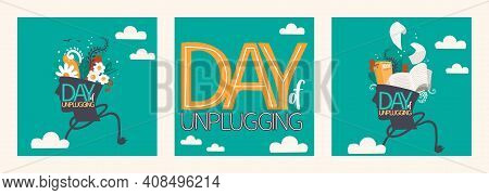 Day Of Unplugging. Set Of Vector Illustrations And Lettering. Human Head With Books Inside. Human He