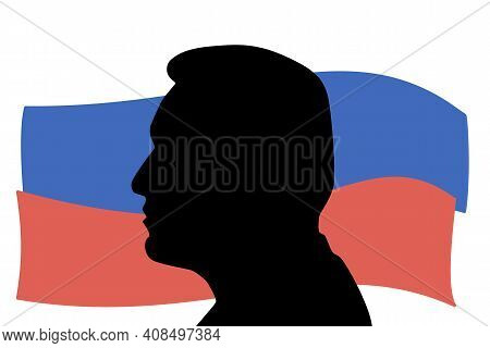 Russia, St.petersburg, 16 February 2021 Portrait Silhouette Of Politician Navalny With The Russian F