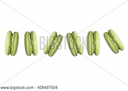 French Crash Macaroon. Macaroon Or Macaroon Cake Isolated On A White Background, Sweet Dessert.
