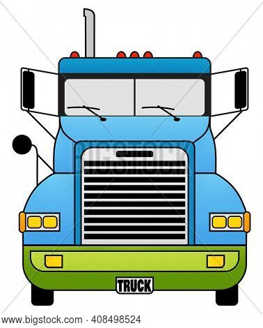 18 Wheeler Illustration Isolated on White with Clipping Path