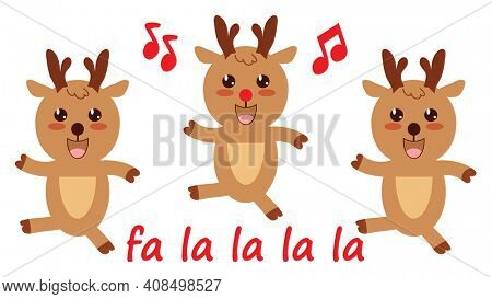 Dancing Christmas Reindeer Isolated on White with Clipping Path