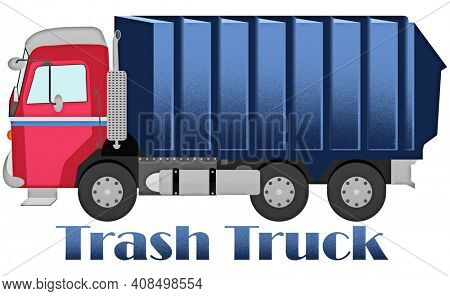 Trash Truck Red Blue Illustration Isolated on White with Clipping Path