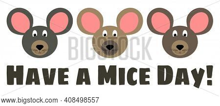 Mice Day Pun Illustration of Mouse Heads Isolated on white with clipping path for Easy Transparent Background.