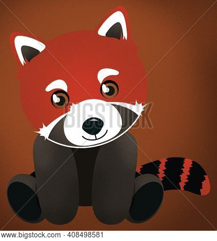 Adorable Red Panda Sitting with Clipping Path Isolated on Brown