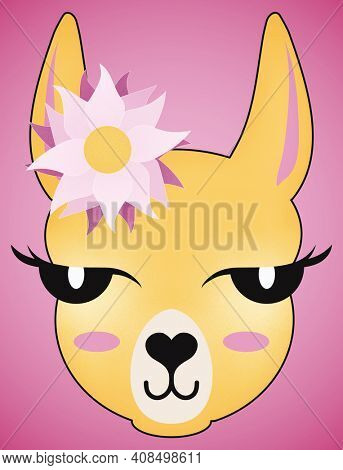Beautiful Girl Llama with Flower and Long Eyelashes Isolate on Pink with Clipping Path.