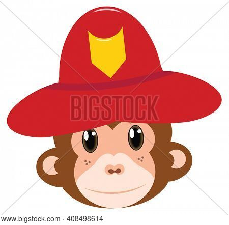 Monkey in Fire Fighter Helmet Smiling Isolated on White with Clipping Path