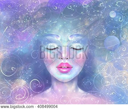 Illustration Of A Portrait Of A Girl With Closed Eyes Against The Background Of The Starry Sky, The