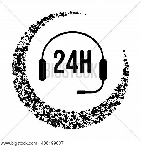 Around The Clock 24h Day And Night Support Icon. Vector Illustration