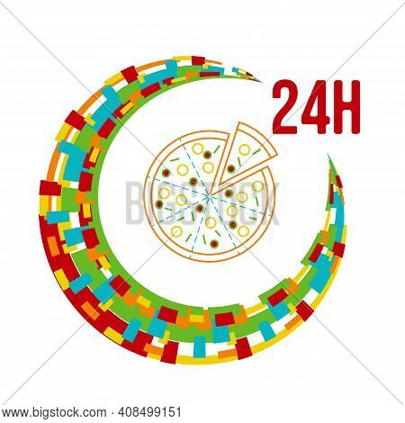 Colorful 24h Around The Clock Pizza Delivery Icon. Vector Illustration