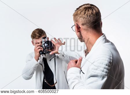 Paparazzi Photographer. Private Data. Twins Brother In White. Photographing. Beauty And Fashion