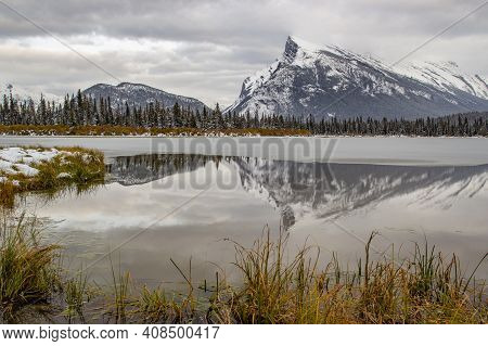 Vermillion Lake And Mt Rundle During Late Fall In Banff National Park In Late Fall, Alberta Canada