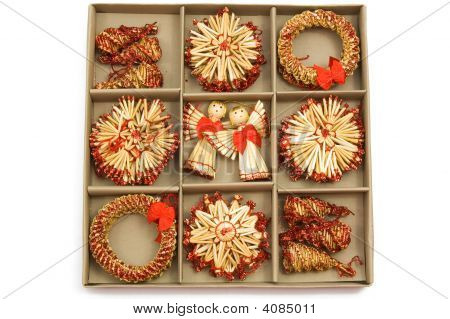 Set Of Nine Handmade Christmas Decoration