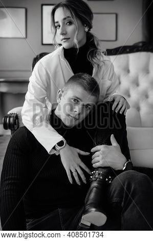 Portrait Of Happy Loving Couple. Stylish Photo For Valentine's Day