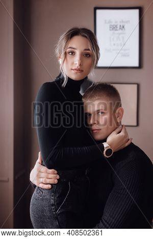 Portrait Of Happy Loving Couple. Stylish Photo For Valentine\'s Day