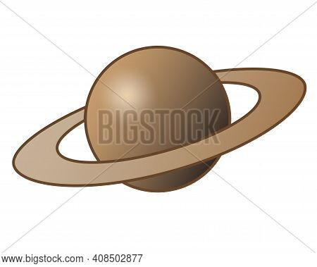 Saturn And Its Rings - One Of The Planets Of The Solar System - Vector Full Color Illustration. Outl