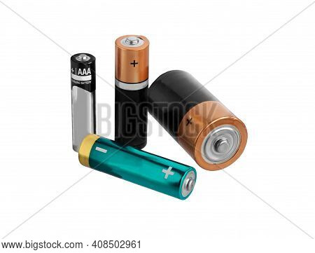 Battery.  Variety Of Batteries Isolated On White Background.  Battery Of Different Type With Clippin