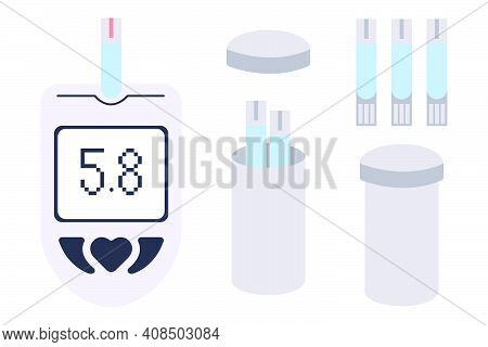 Electronic Glucometer Set - Device For Self-determination Of Blood Glucose Levels. Diagnostic Medica
