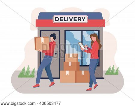 Service Of Fast Delivery, Express Delivery Courier. Man Courier With Box In His Hands. Supervisor Su