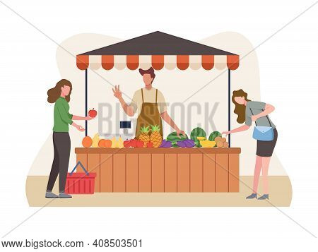 Vegetable And Fruit Seller, Local Farmer Sell Their Crops. Market Stalls Business Concept, Local Mar