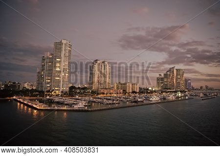 Urban Paradise. City Skyline. City And Yacht Club From Sea. City Architecture At Dusk. Twilight Of C