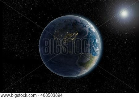 3d Rendering Of Planet Earth From Space Back Lit By Sun At Night, With North And South American Cont