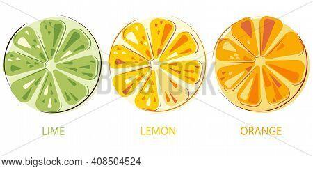 Green Juicy Lime, Lemon, Sunny Juicy Oranges Set Of Cut Fruits. Colorful Citrus Fruits.