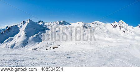 Silvretta Arena Ski Resort Panoramic View On Sunny Winter Day, Ischgl And Samnaun, Silvretta Arena,