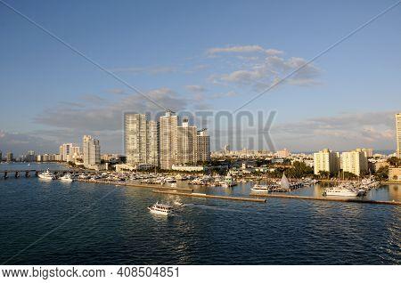 Miami Beach Waterfront And Marina Scenery Wide View