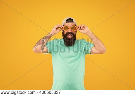 Real Happiness. Bearded Guy In Party Glasses. Just Like A Freak. He Is Going Crazy. Summer Male Fash