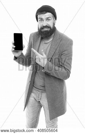 Hipster Bearded Man Use Smartphone. Internet Surfing Social Networks With Smartphone. Man With Smart