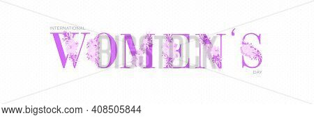 Purple Women Typographical Design Elements. International Women's Day Icon. Women's Day Symbol. Mini