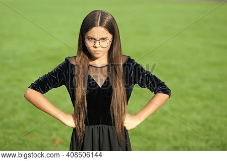Keep Out. Nasty Look Of Girl Child. Angry Girl Keep Hands On Hips Outdoors. Disobedient Kid. Having