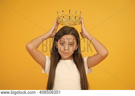 Lady Little Princess. Compelling Baby. Kid Wear Golden Crown Symbol Of Princess. Girl Cute Baby Wear