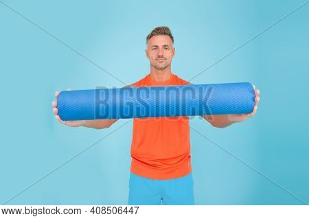 Personal Training. Meditations Designed To Help You Find Your Joy. Man Practicing Yoga At Home. Hand