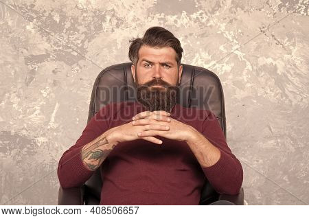 Big Boss. Confident Businessman. Businessman Sit Chair. Bearded Businessman In Office. Businessman H