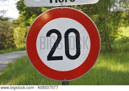20 Kilometers Per Hour Speed Limit Sign On The Street