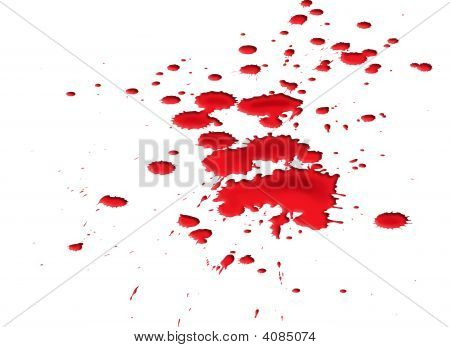 Isolated illustration of a ghastly blood splat poster