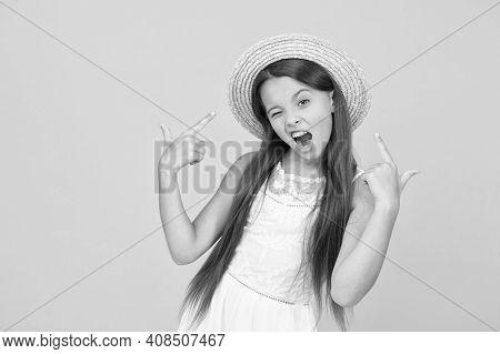 Enjoying Warm Day. Happy Childhood. Cool Little Girl Wear Straw Hat. Beach Fashion For Kids. Small C