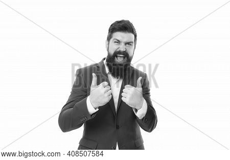 Man. We Offer Only The Best. Happy Businessmen Give Thumbs Up Hands. Bearded Man Smile With Thumbs U