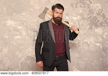 Masculine Appeal. Masculine Barber Hold Axe Abstract Background. Bearded Man With Masculine Look. Hi