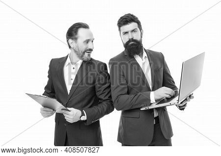 Being On Agenda. Bearded Men Have Working Meeting. Having Business Meeting. Businessmen With Laptop